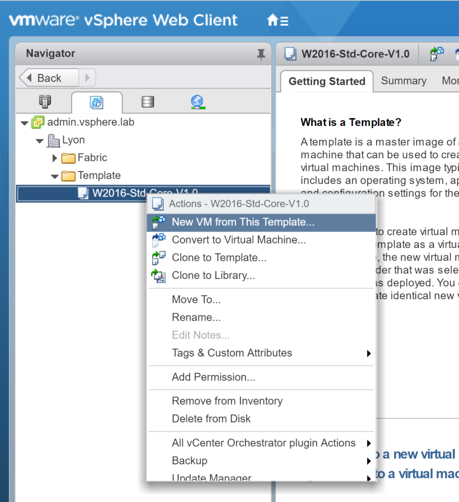 VMware vSphere Web Client - New Virtual Machine from Template