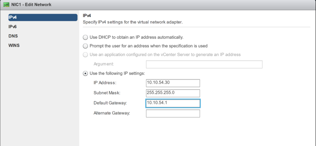New VM Guest Customization Spec - Configure Network - Edit Network IPv4