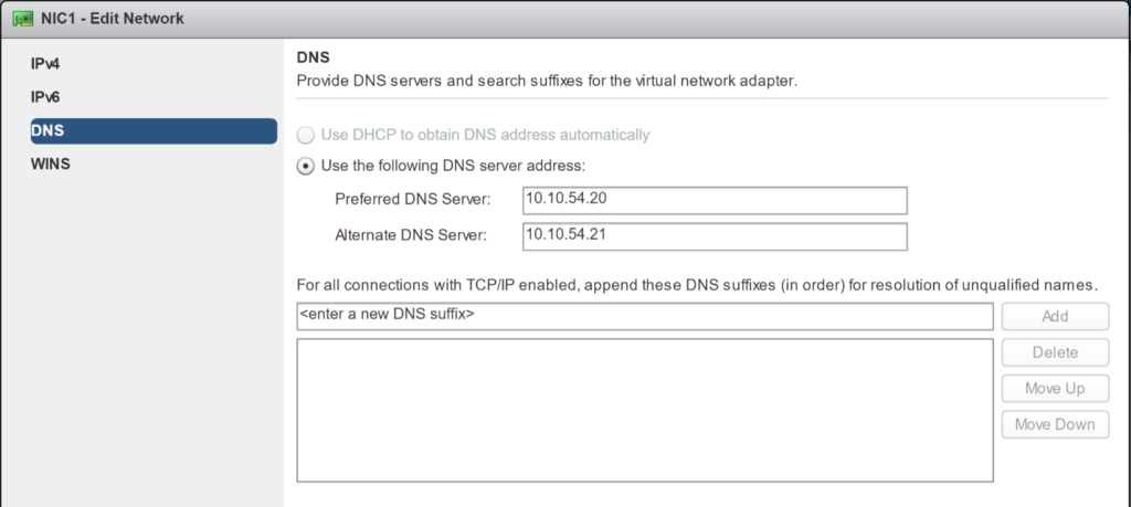 New VM Guest Customization Spec - Configure Network - Edit Network DNS