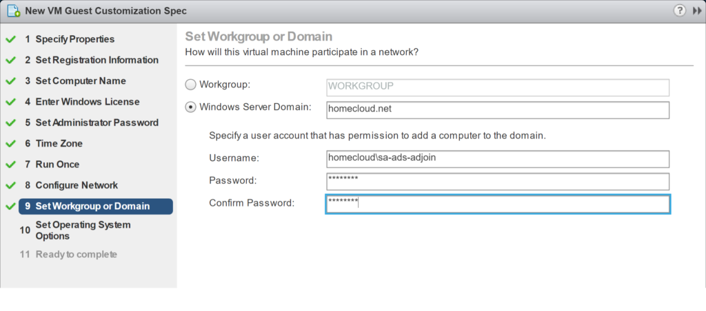 New VM Guest Customization Spec - Set Workgroup or Domain