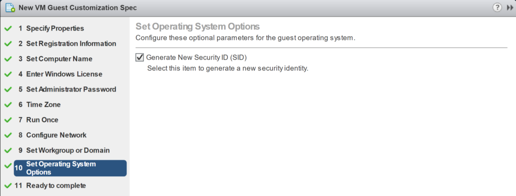 New VM Guest Customization Spec - Set Operation System Option