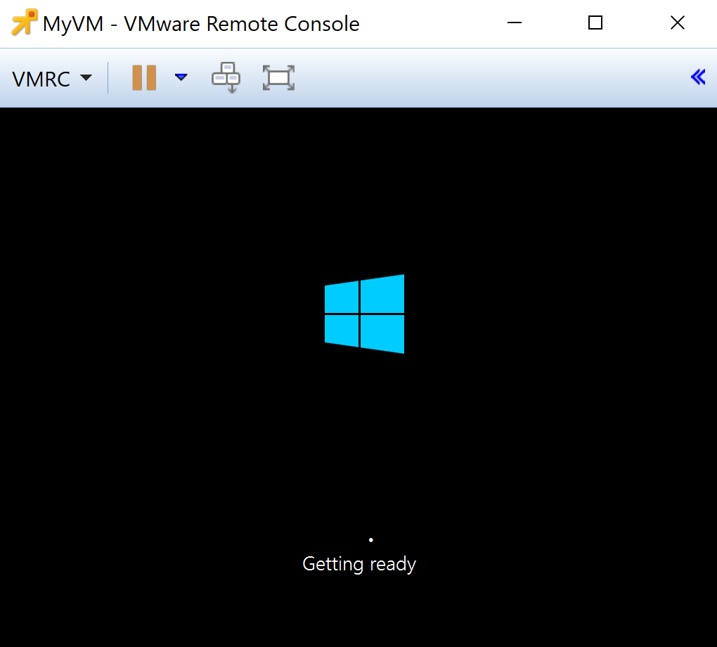 MyVM VMware Remote Console Getting ready view