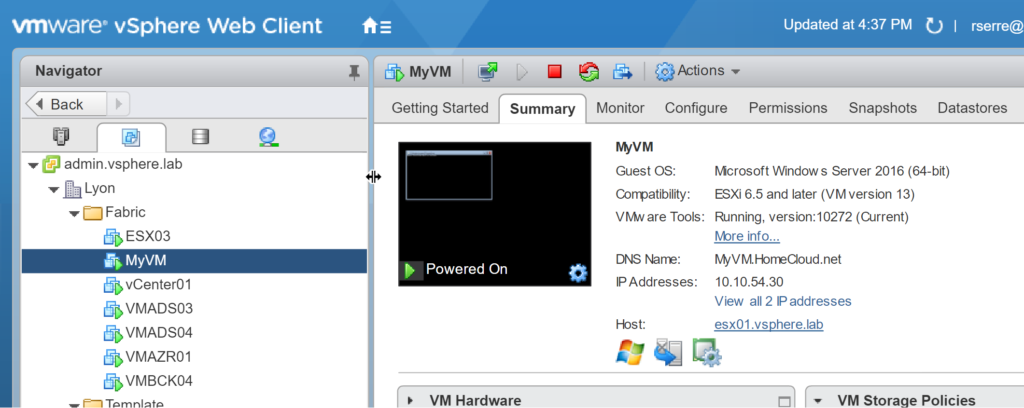 VMWare vSphere Web Client - MyVM - Summary