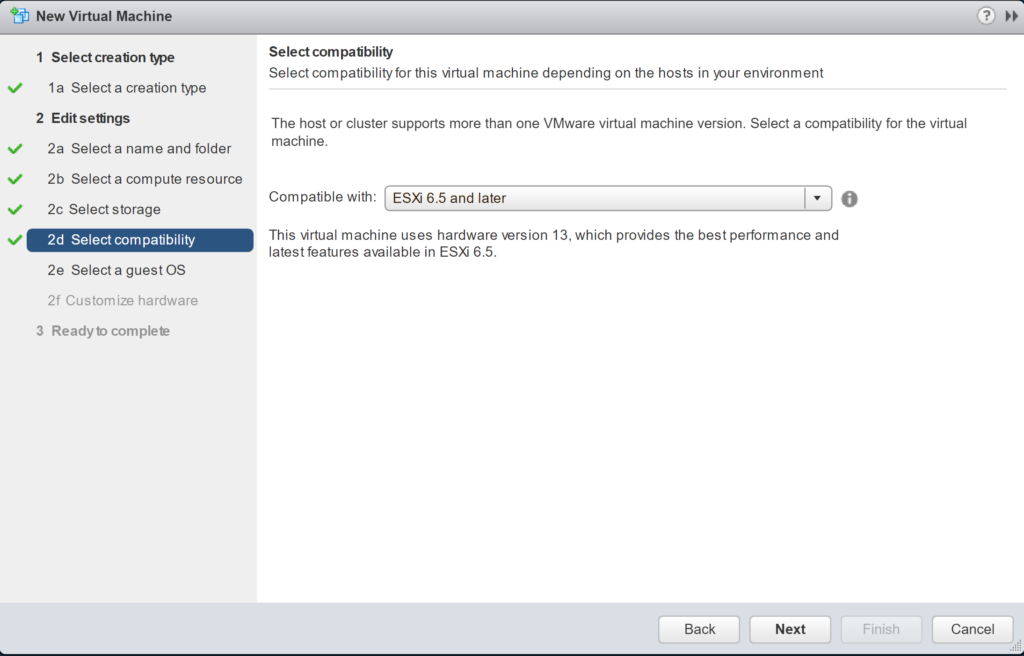 New Virtual Machine - Edit Settings - Select compatibility