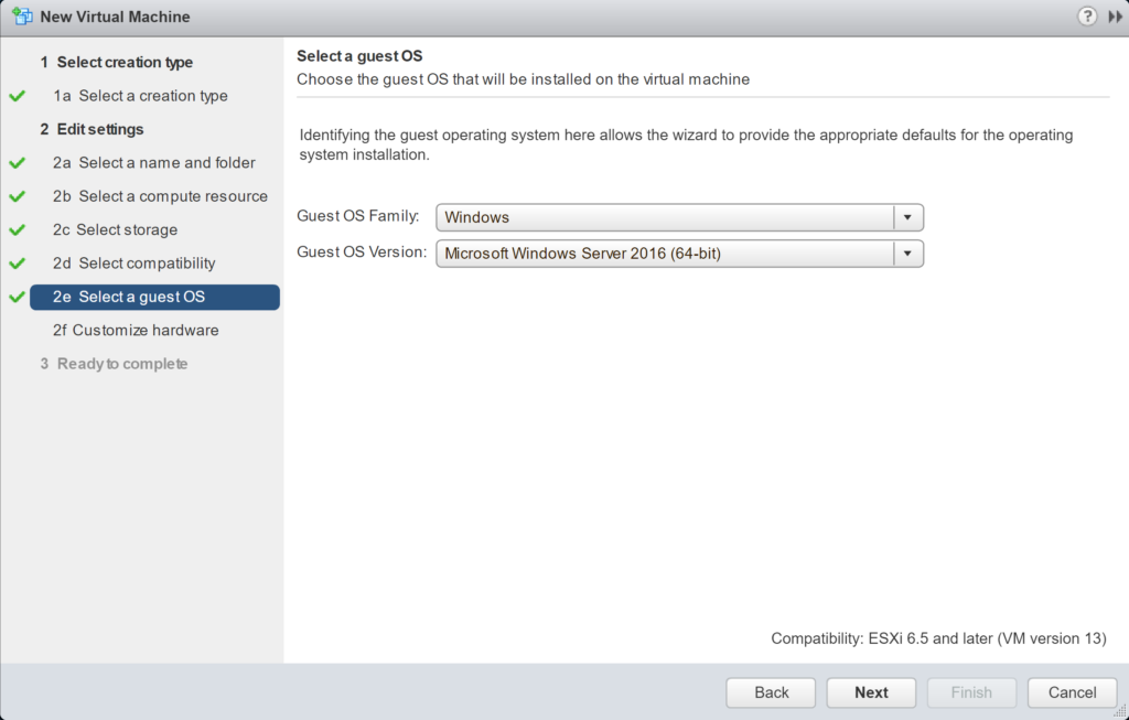 New Virtual Machine - Edit Settings - Select a guest OS