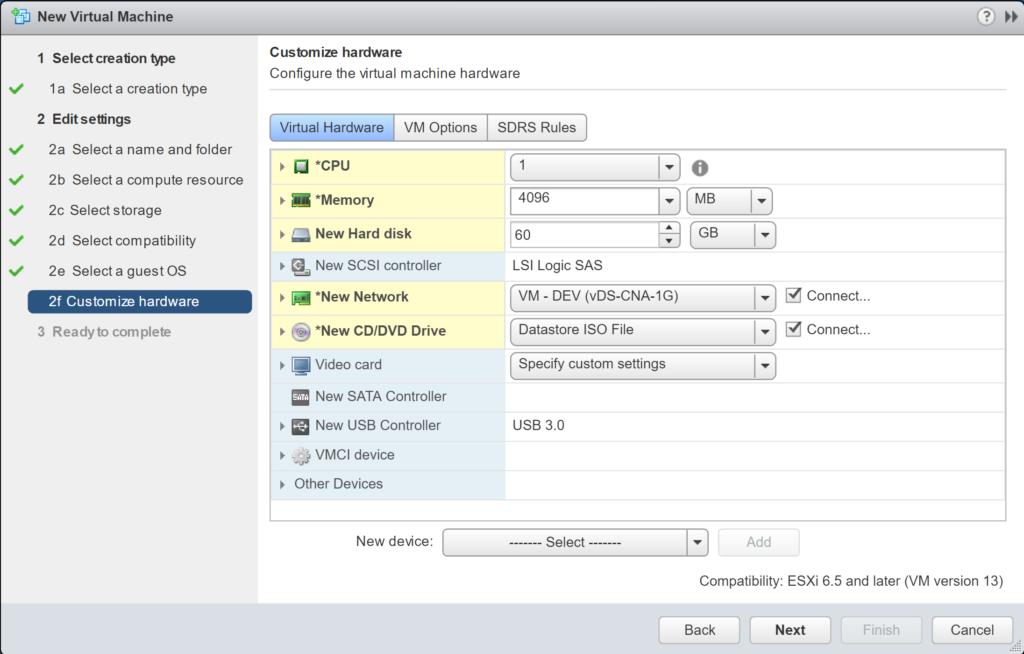 New Virtual Machine - Edit Settings - Customize hardware - Virtual Hardware