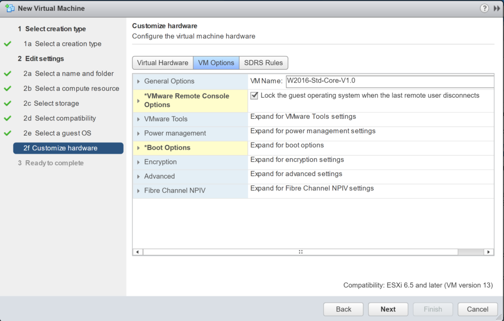 New Virtual Machine - Edit Settings - Customize hardware - VM Options