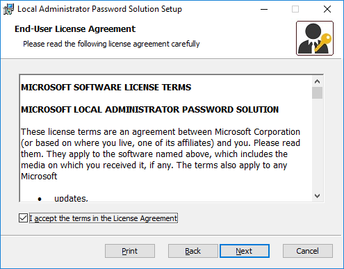 Local Administrator Password Solution Setup - Microsoft Software License Terms