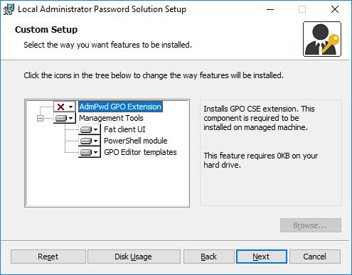 Local Administrator Password Solution - Setup - Custom Setup