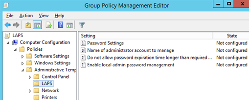 Group Policy Management Editor - LAPS