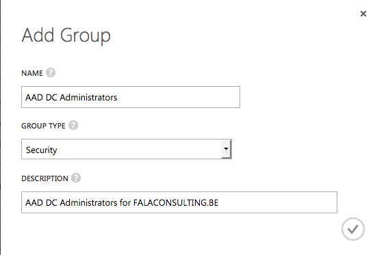 Add Group - AAD DC Administrators