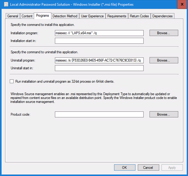 Local Administrator Password Solution - Windows Installer Properties - Programs