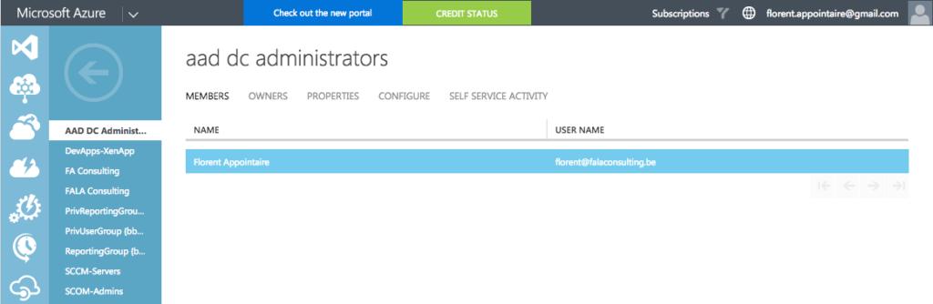 Microsoft Azure - aad dc administrators - Members