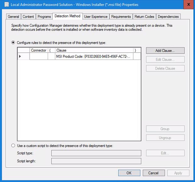 Local Administrator Password Solution - Windows Installer Properties - Detection Method