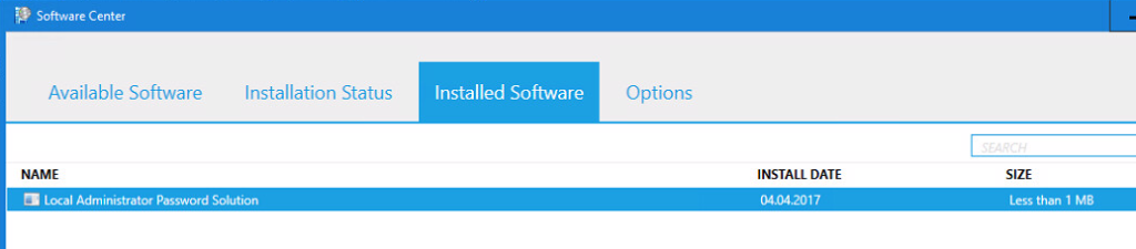 Software Center - Installed Software - Local Administration Password Solution