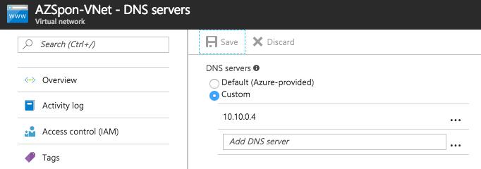 AZSpon-VNet - DNS servers