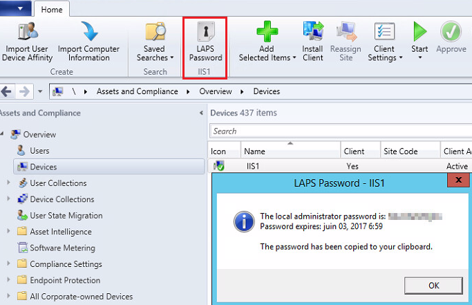 SCCM console - LAPS Password - IIS1