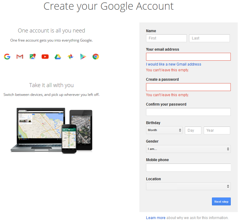 Create your Google Account window