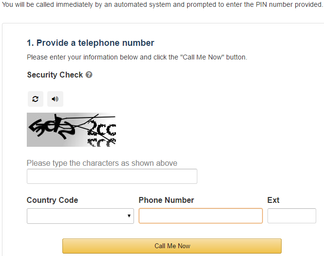 Amazon Web Service - Provide a telephone number