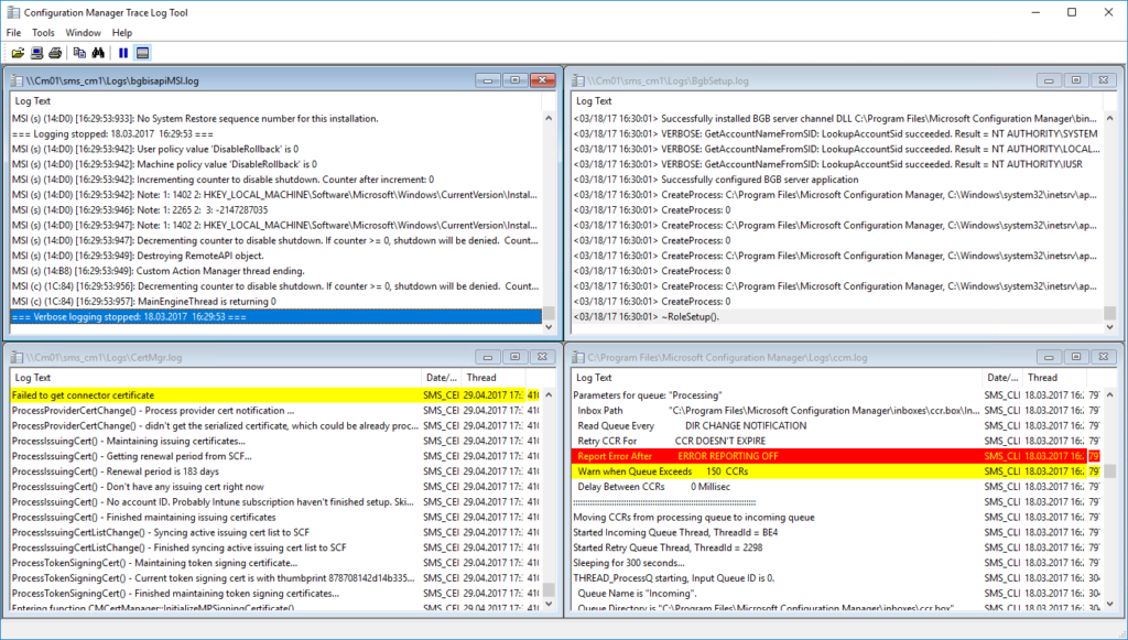 Configuration Manager Trace Log Tools - Multiple Log files