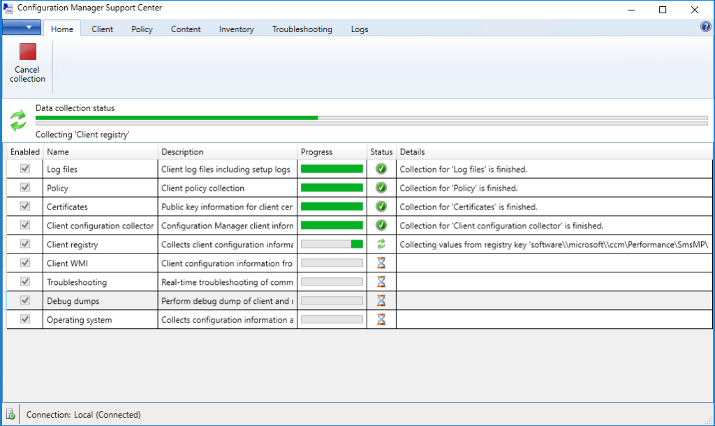 Configuration Manager Support Center - Data collection status