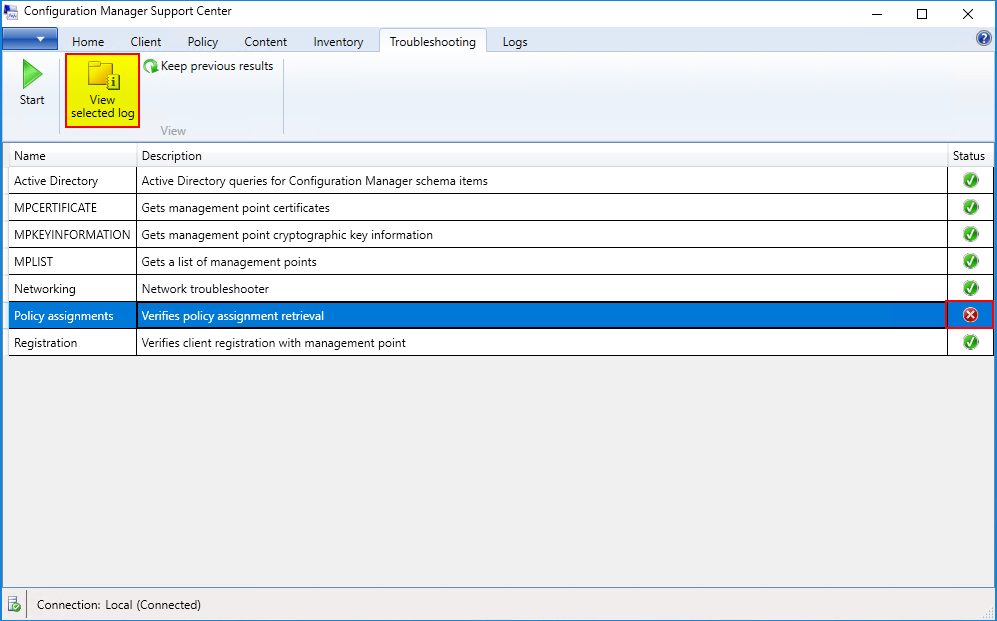 Configuration Manager Support Center - Troubleshooting - View selected log