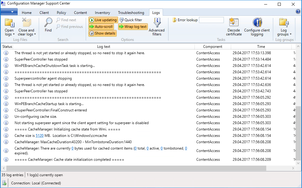 Configuration Manager Support Center - Logs