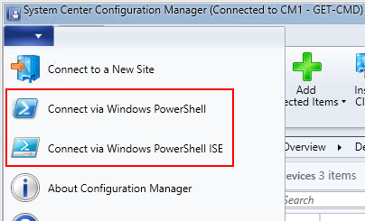 System Center Configuration Manager - Connect via Windows PowerShell and PowerShell ISE