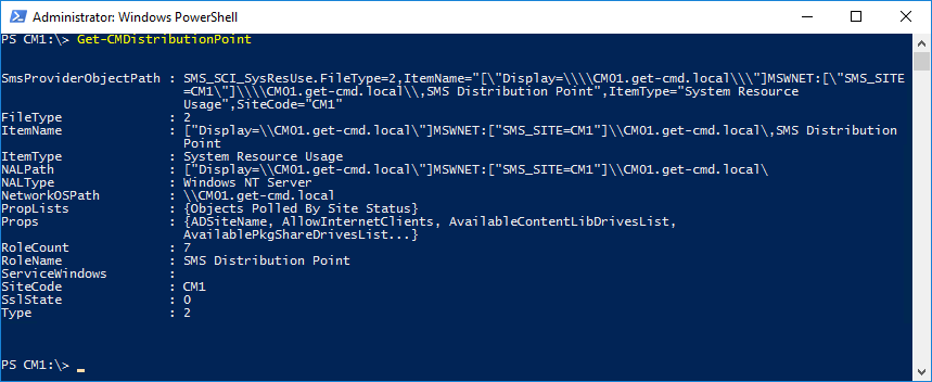 Windows PowerShell Сonsole - Gather information about the distribution point Server