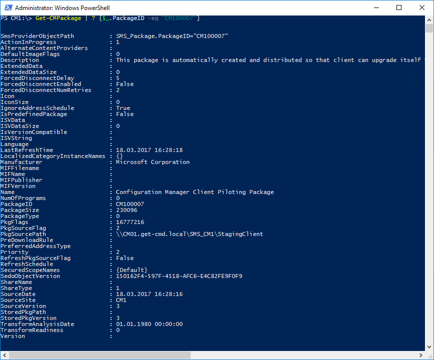 Windows PowerShell Сonsole - Getting information about some packages