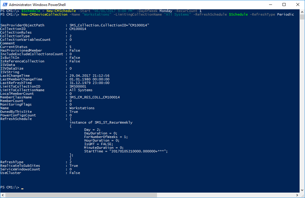 Windows PowerShell Сonsole - Creating SCCM device collection with the New-CMDeviceCollection cmdlet