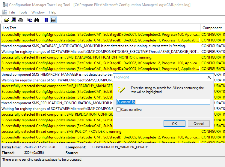 Configuration Manager Trace Log Tools - Log Text - Highlight