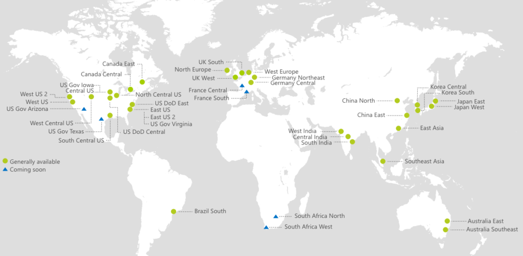 World Wide Map of Microsoft Azure Services