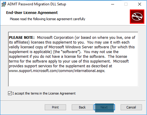 ADMT Password Migration DLL - End-User License Agreement