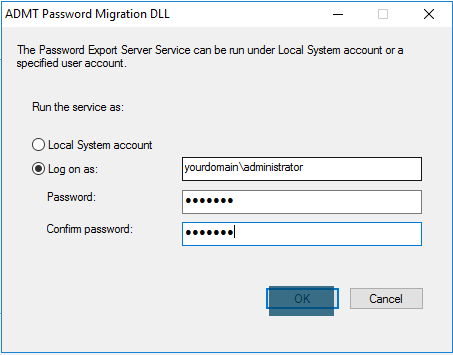 ADMT Password Migration DLL - the password Export Server Service