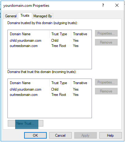 Active Directory Domains and Trusts - Properties - Trusted Domain