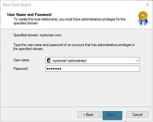 New Trust Wizard - User Name and Password