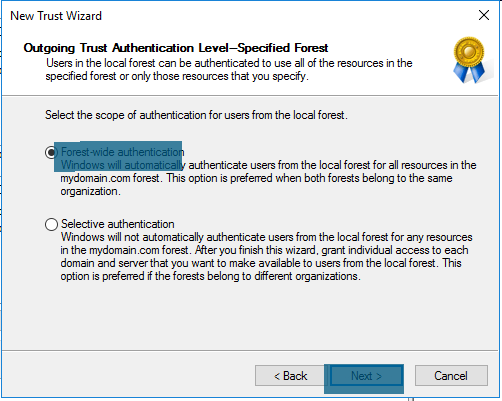 New Trust Wizard - Outgoing Trust Authentication Level-Specified Forest