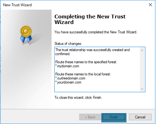 New Trust Wizard - Completing the New Trust Wizard