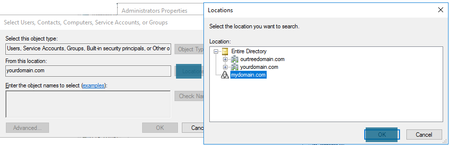Active Directory Users and Computers - Administrators Properties - Locations