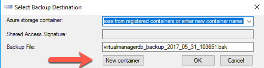 Select Backup Destination - New container