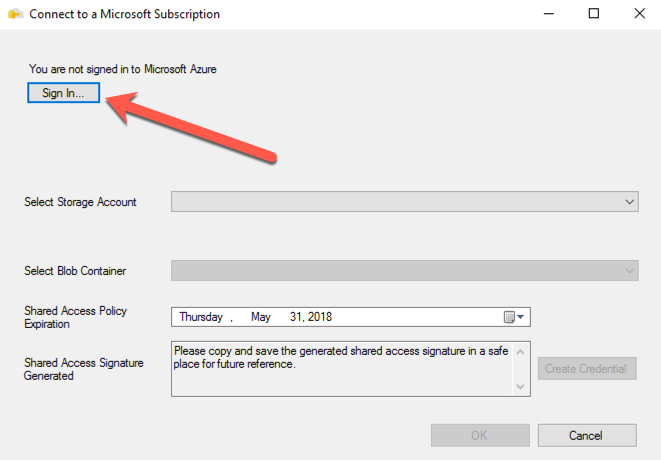 Connect to a Microsoft Subscription - Sign In...