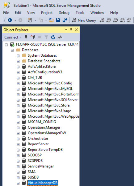 Solution1 - Microsoft SQL Server Management Studio - Object Explorer - VirtualManagerDB