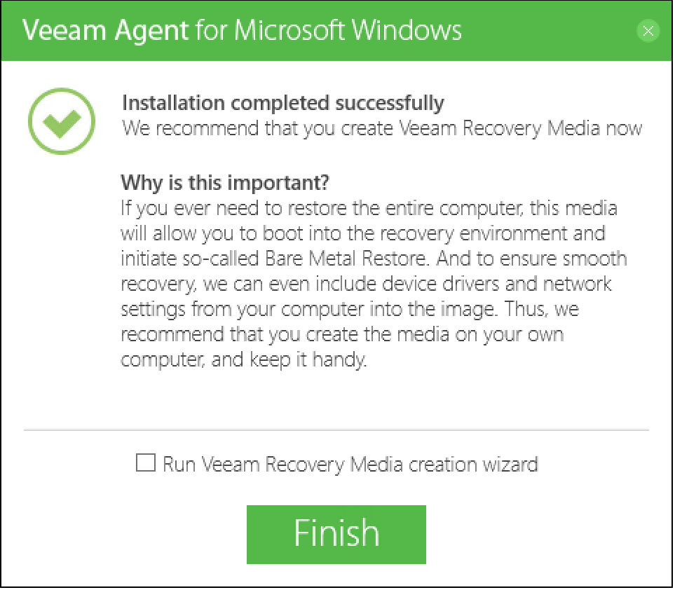 Veeam Agent for Microsoft Windows - Installation Window