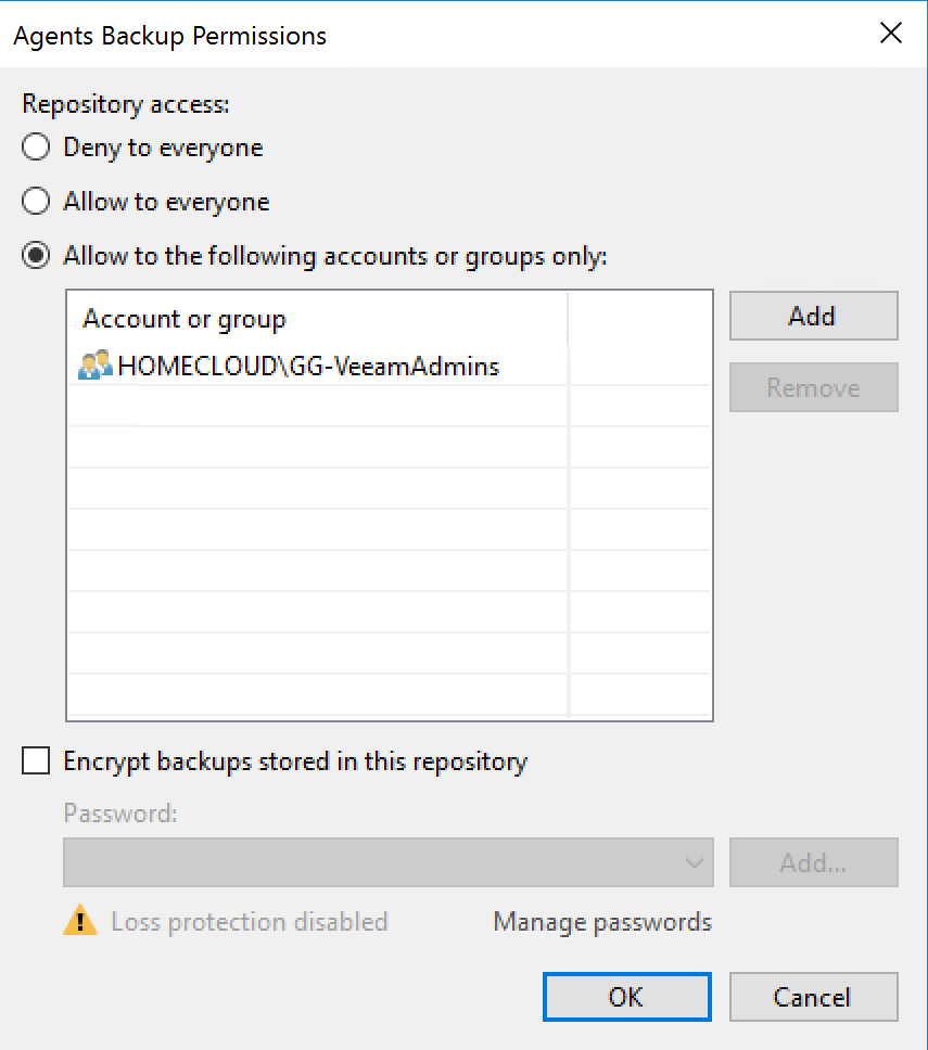 Veeam Agent for Microsoft Windows - Backup Repository - Agents Backup Permissions