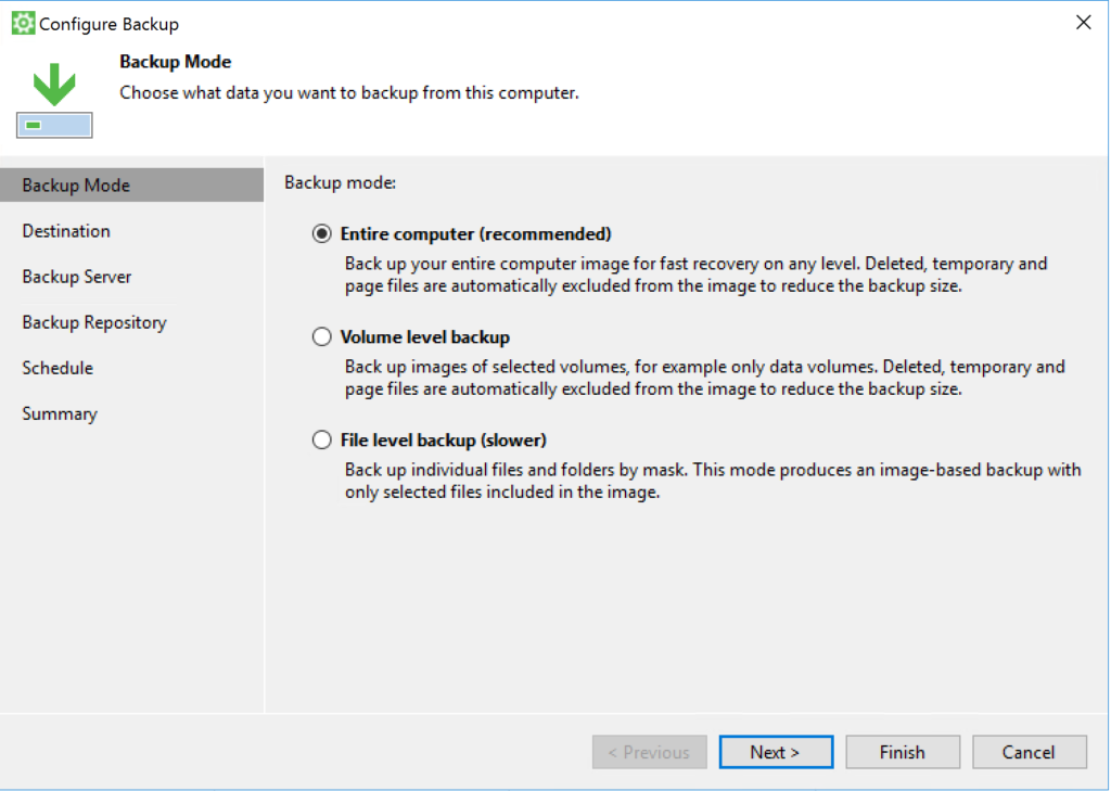 Veeam Agent - Configure Backup - Backup Mode