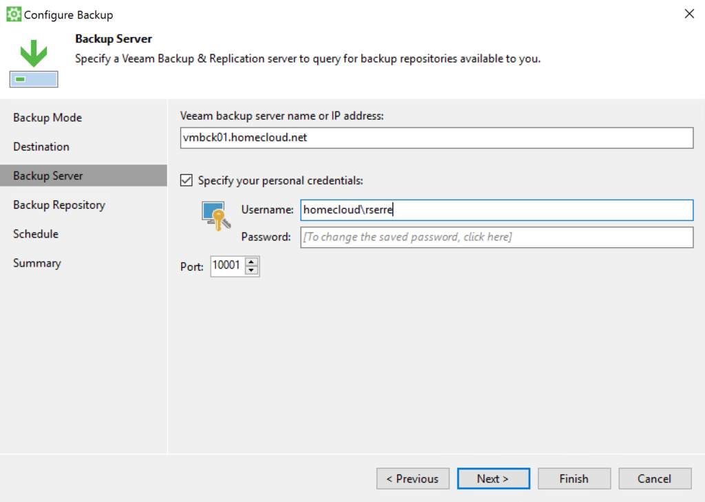 Veeam Agent - Configure Backup - Backup Server