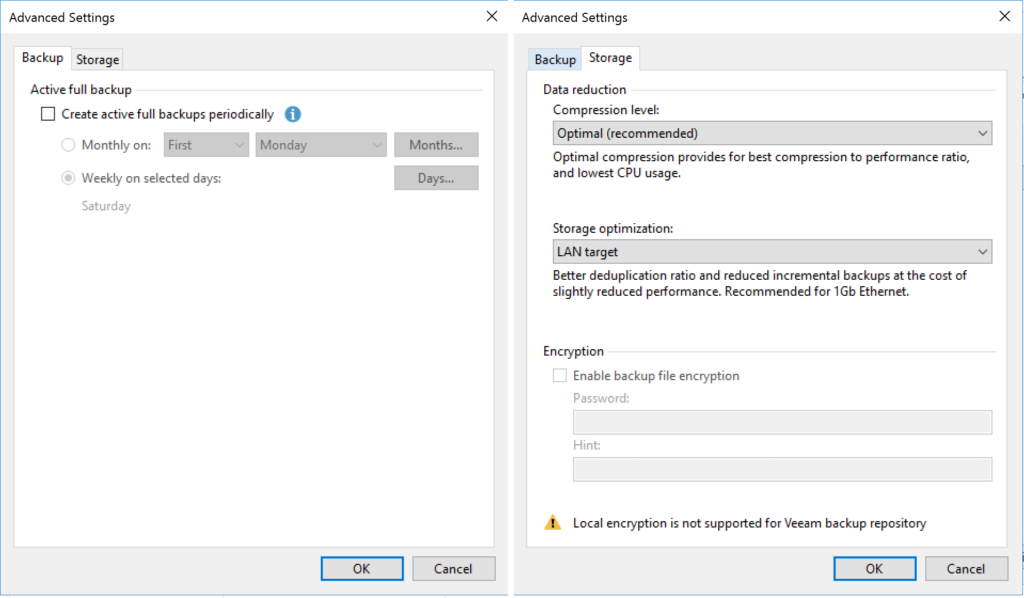 Veeam Agent - Configure Backup - Advanced Settings - Backup - Storage