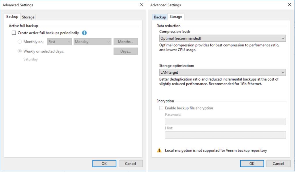 Veeam Agent - Configure Backup - Advanced Settings - Backup - Storage