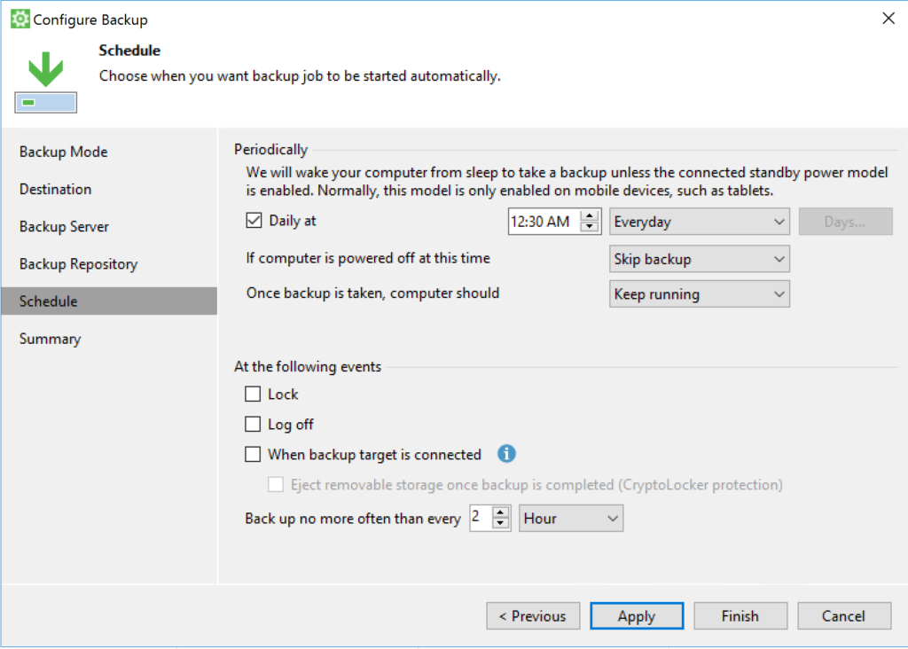 Veeam Agent - Configure Backup - Shedule